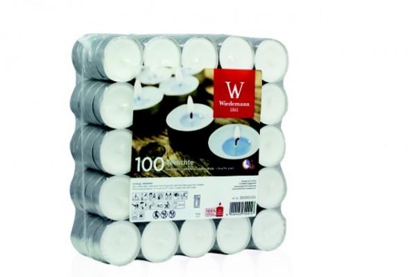 Qualitäts Teelichte 100er Flatplack, (1x 100 Stück) 4h Brenndauer