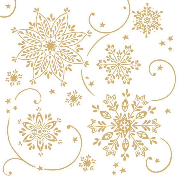 MANK Weihnachtsserviette CRISTAL STERNE weiss, 40x40 cm, Linclass, 300 Stück