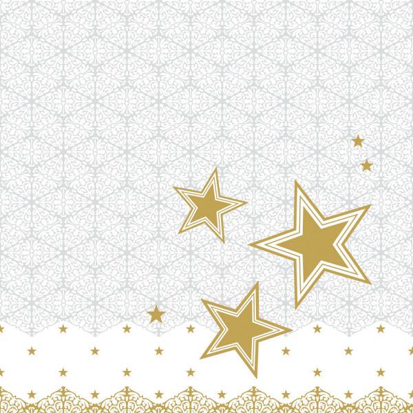 MANK Weihnachtsserviette VIVIEN, STERNE, Tissue 33x33 cm, 3-lagig, 600 Stück