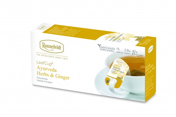 Ronnefeldt Tee LeafCup Ayurveda Herbs & Ginger, 6 x 15 Stück