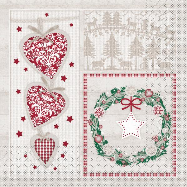 MANK Weihnachtsserviette BENITA, Tissue 33x33 cm, 3-lagig, 600 Stück