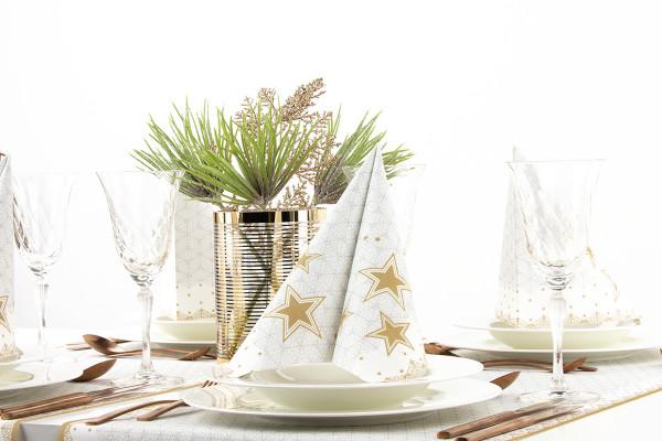 MANK Weihnachtsserviette VIVIEN, STERNE 40x40 cm, Linclass, 300 Stück