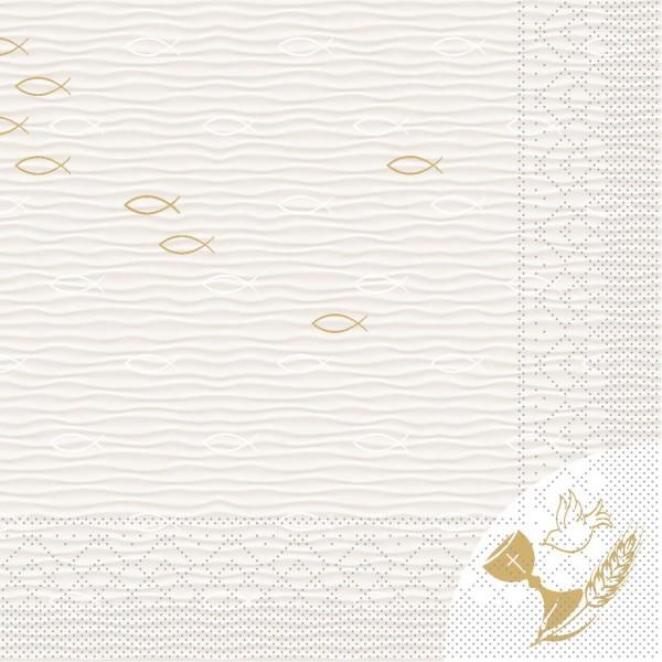 """MANK Servietten KONFIRMATION/KOMMUNION """"FISCH"""", Tissue 3-lagig, 33x33 cm"""