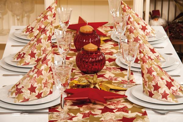 MANK Weihnachtsserviette LEVI STERNE rot/gold/bordeaux, 40x40 cm, Linclass, 300 Stücy