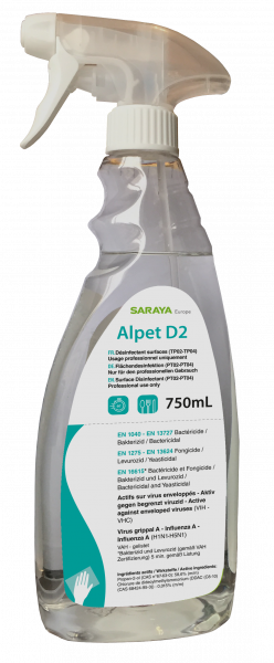 SARAYA Flächendesinfektionsmittel ALPET D2 , 750ml Sprühflasche