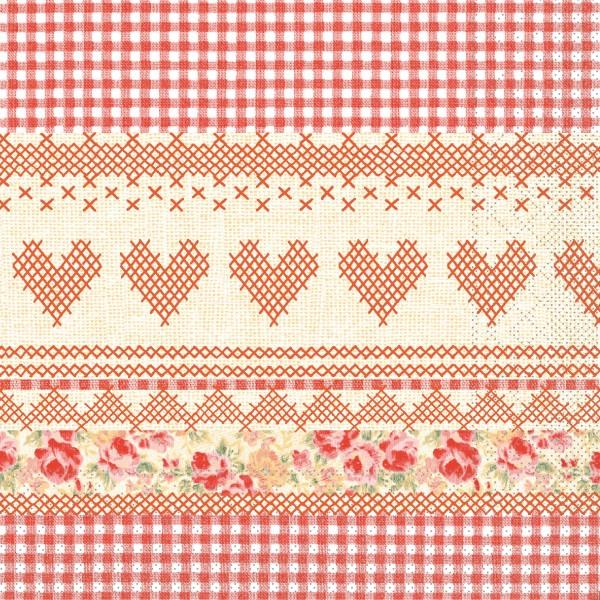 """MANK Servietten Cottage Style, """" MATHILDA """" aus Tissue, 3-lagig, 40x40 cm"""