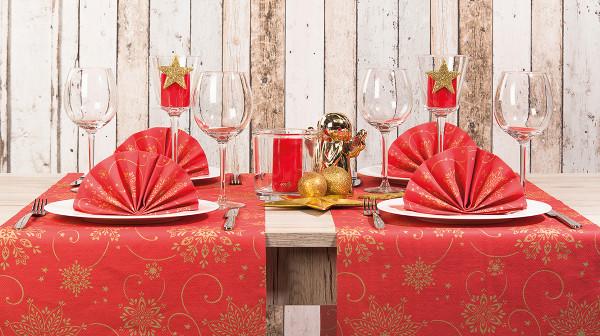 MANK Weihnachtsserviette CRISTAL STERNE rot, 40x40 cm, Linclass, 300 Stück-