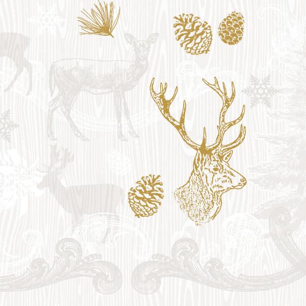 MANK Weihnachtsserviette BRUNO, Tissue 33x33 cm, 3-lagig, 600 Stück