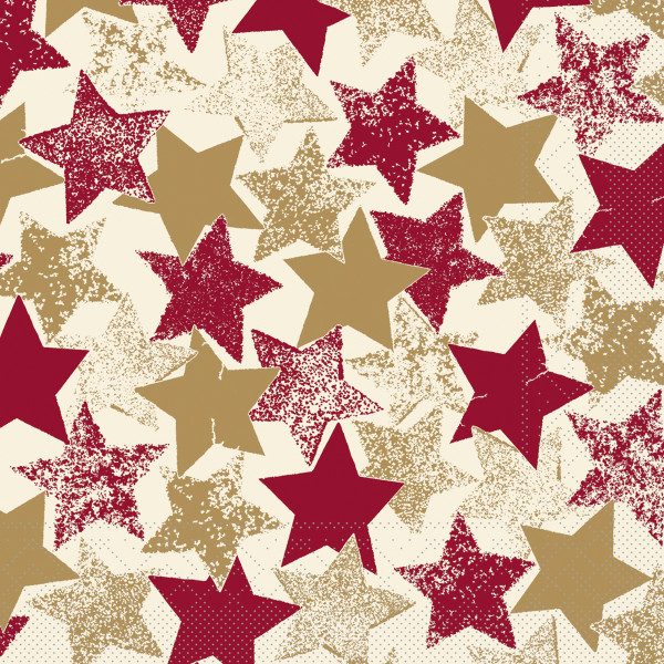 MANK Weihnachtsserviette LEVI Sterne rot/gold/bordeaux Tissue 33x33 cm, 3-lagig, 600 Stück-Copy