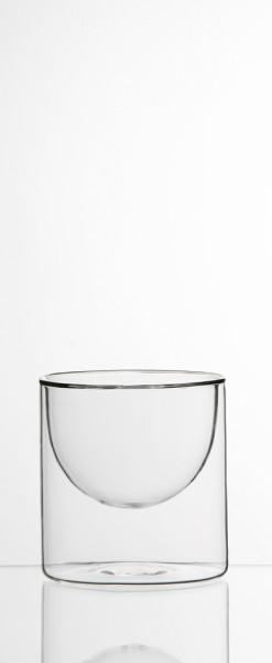 """Glasschälchen,"""" HALFMOON"""" doppelwandig, Borosilikatglas, mundgeblasen, 2er. Set"""