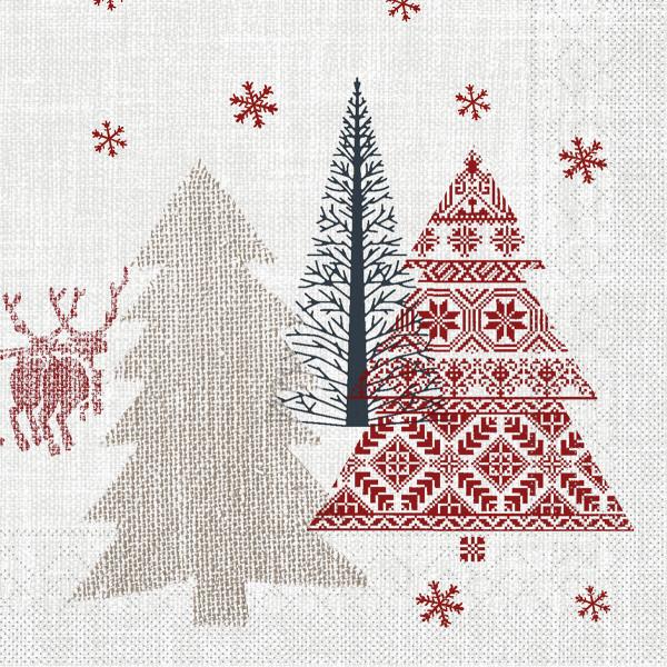 MANK Weihnachtsserviette RUDI, Tissue 33x33 cm, 3-lagig, 600 Stück