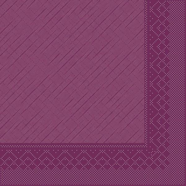 Mank Servietten Tissue Deluxe, 4-lagig, 40 x 40 cm, 12 x 50 Stück, aubergine