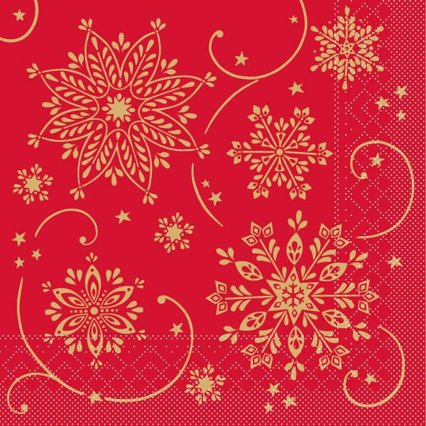 MANK Weihnachtsserviette CRISTAL, rot Tissue 33x33 cm, 3-lagig, 600 Stück
